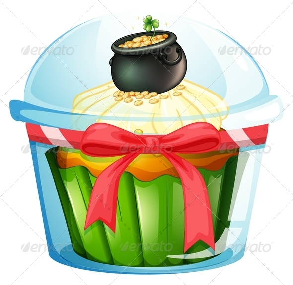 GraphicRiver A cupcake with a pot of coins 7845942