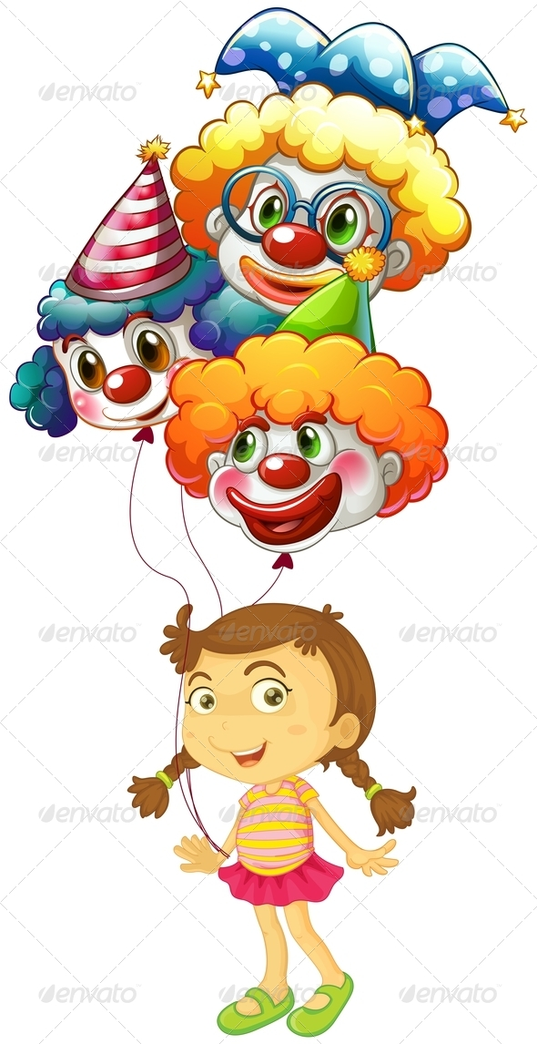 GraphicRiver Girl holding three clown balloons 7845987