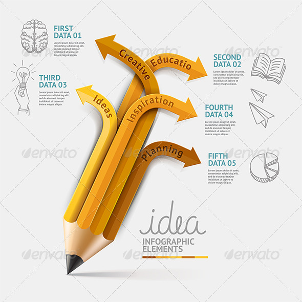 Education Pencil Infographics Step Option