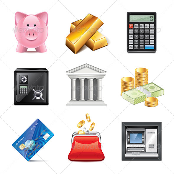 GraphicRiver Banking Icons Photo-Realistic Set 7846220