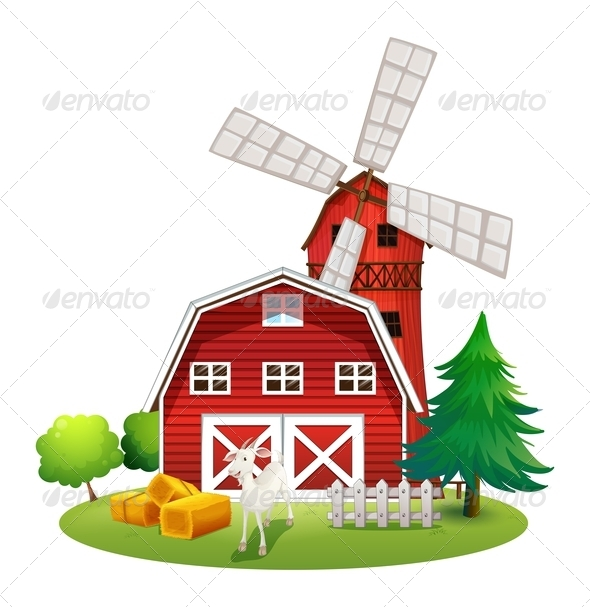 GraphicRiver Red farm house with goat and windmill 7846582