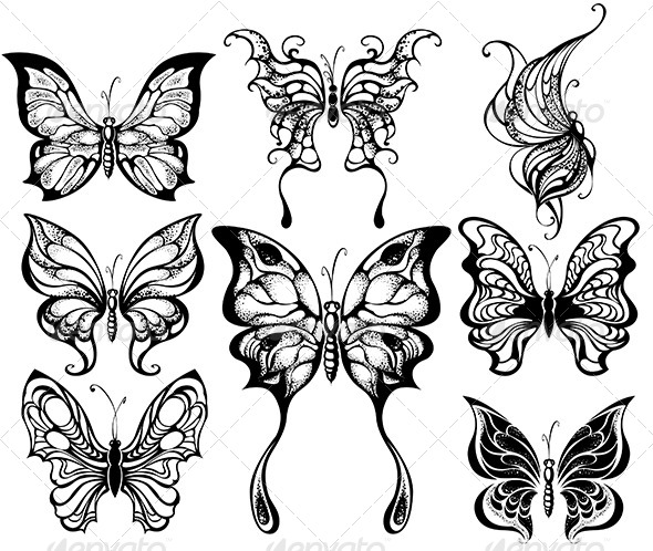 GraphicRiver Silhouettes of Exotic Butterflies 7846591