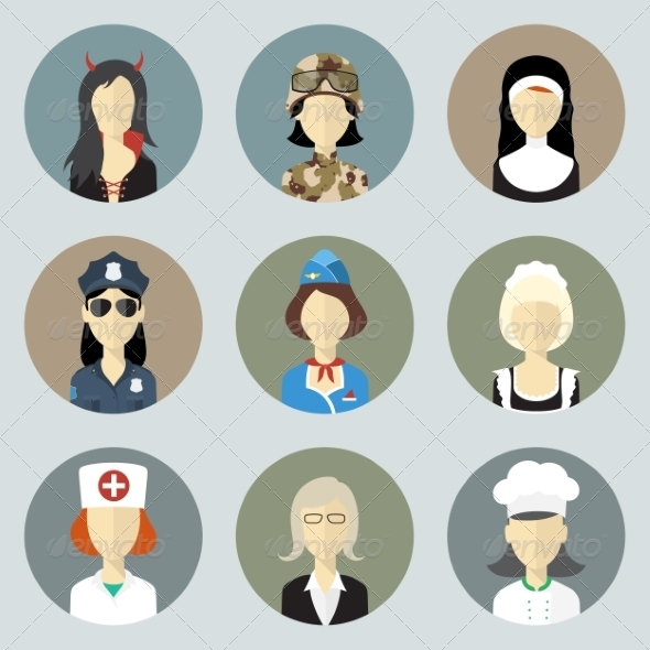 Colorful Women in Uniform Circle Icons Set