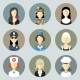 Colorful Women in Uniform Circle Icons Set - GraphicRiver Item for Sale