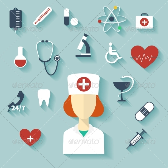 GraphicRiver Flat Design Modern Illustration of Medical Icons 7846746
