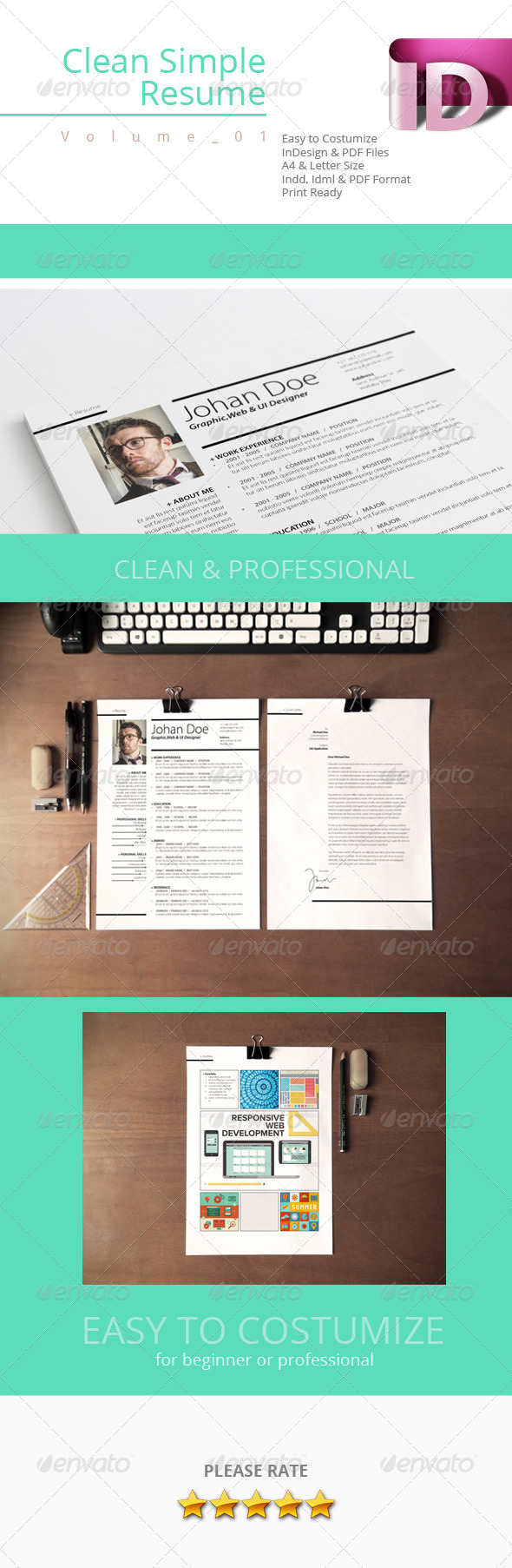 GraphicRiver Clean Simple Resume V.01 7820410