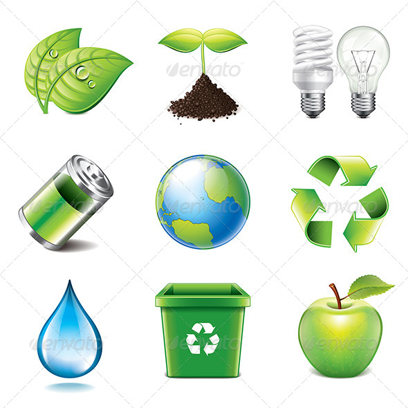 Environment Icons Photo-Realistic Set