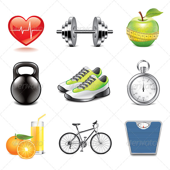 GraphicRiver Fitness Icons Photo-Realistic Set 7846789