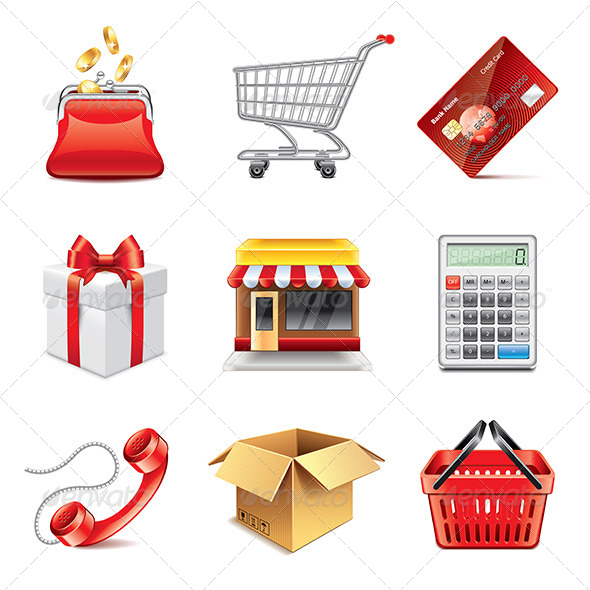 GraphicRiver Shopping Icons Photo-Realistic Set 7846796