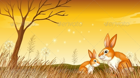 GraphicRiver Bunnies in grass 7846891