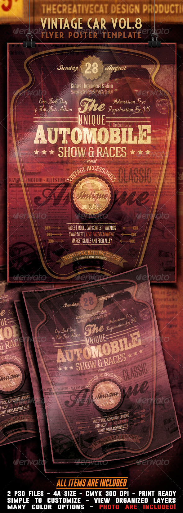 GraphicRiver Vintage Car Flyer Poster Vol 8 7817985