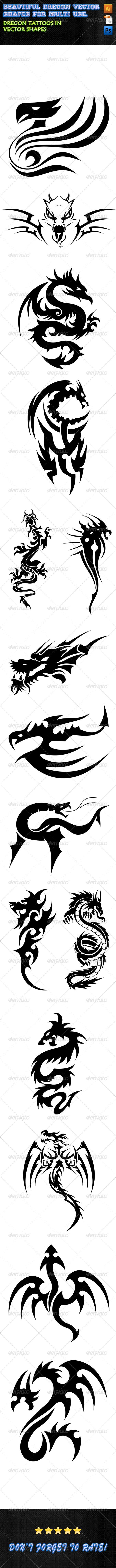 GraphicRiver Dragon Tattoos 01 7847038