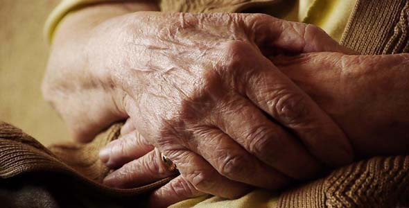 Senior Old Woman Hand With Wrinkle Skin