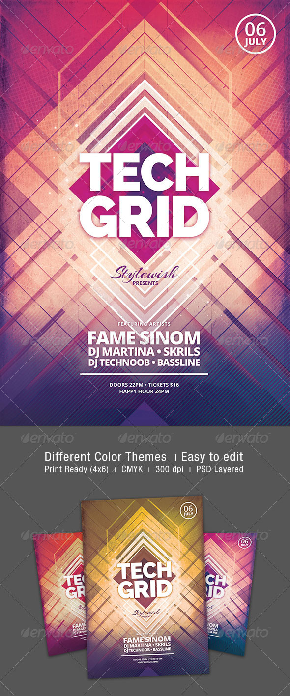 Tech Grid Flyer - Clubs & Parties Events
