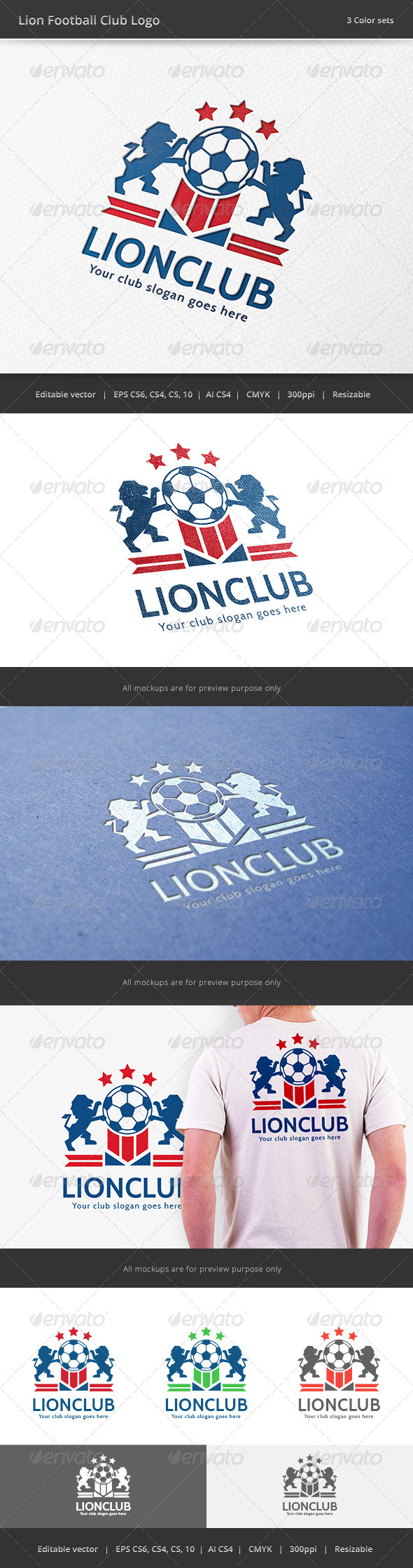 GraphicRiver Lion Football Club Logo 7848475