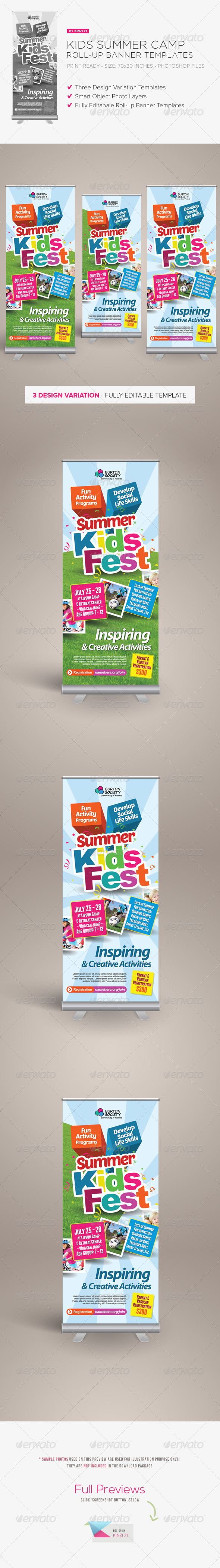 GraphicRiver Kids Summer Camp Roll-up Banners 7828570