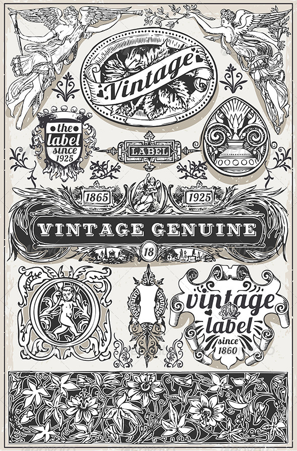 Vintage Hand Drawn Retro Labels
