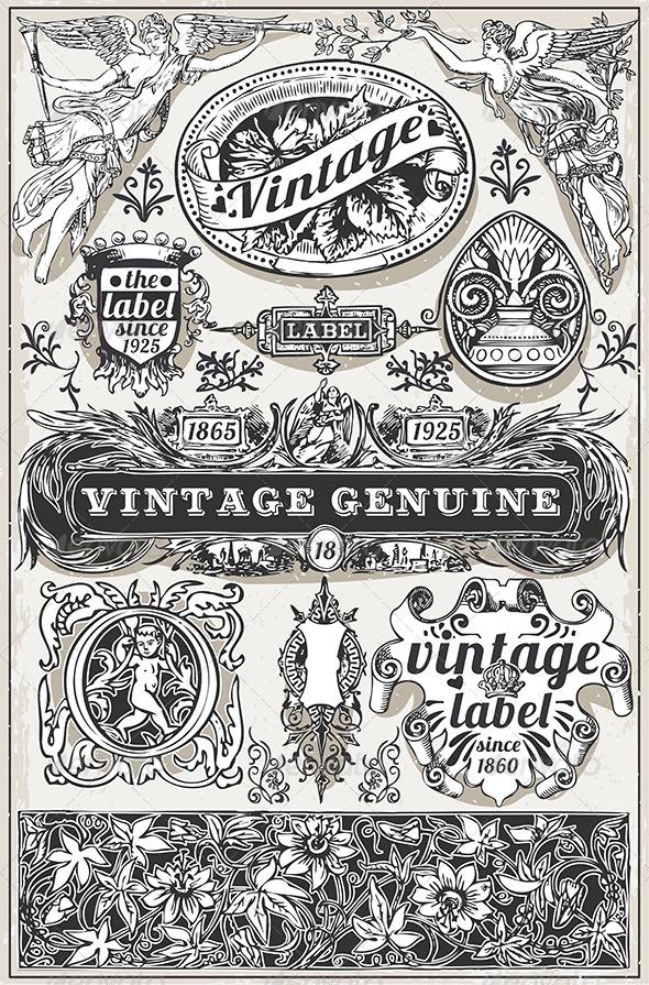 GraphicRiver Vintage Hand Drawn Retro Labels 7848704