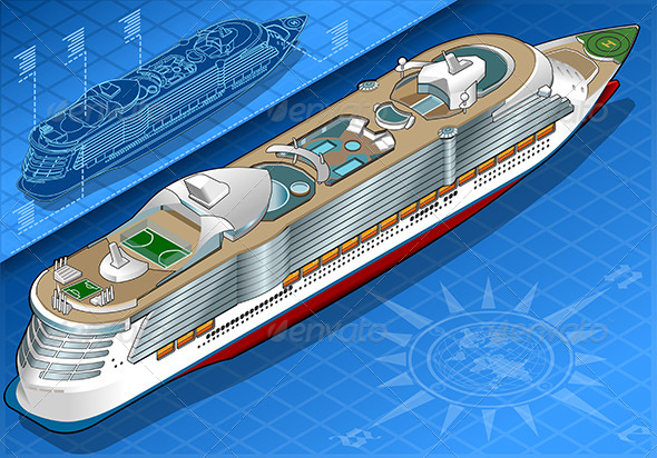 GraphicRiver Isometric Cruise Ship in Rear View 7848921