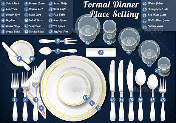 GraphicRiver Set of Place Setting Formal Dinner 7849017