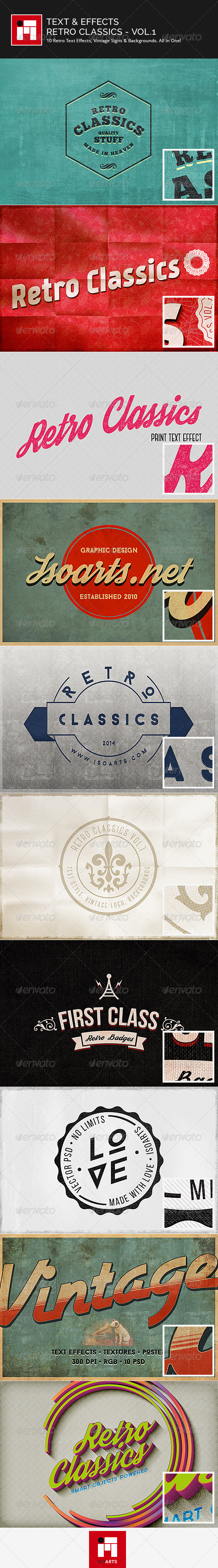 GraphicRiver Text & Effects Vintage Retro Classics Vol.1 7849029