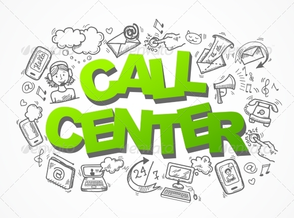 GraphicRiver Call Center Sketch Icons Composition 7849110