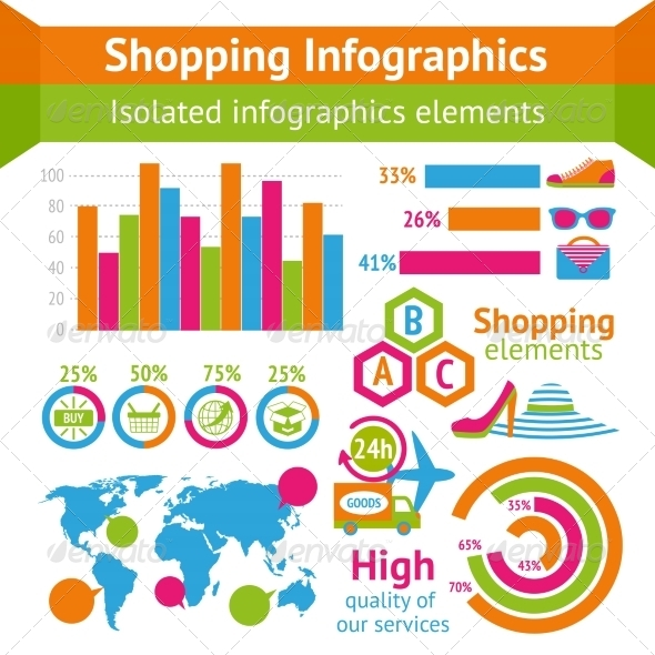 GraphicRiver Shopping Infographic Set 7849137