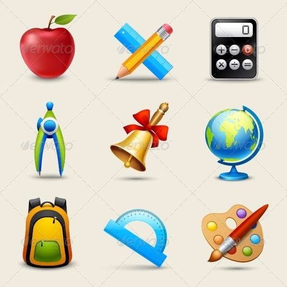 GraphicRiver Realistic School Icons Set 7849144