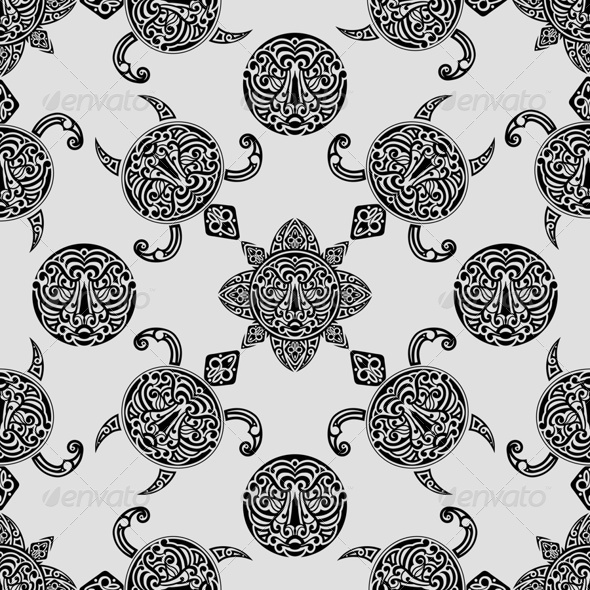 GraphicRiver Seamless Pattern with Polynesian Symbols 7849146
