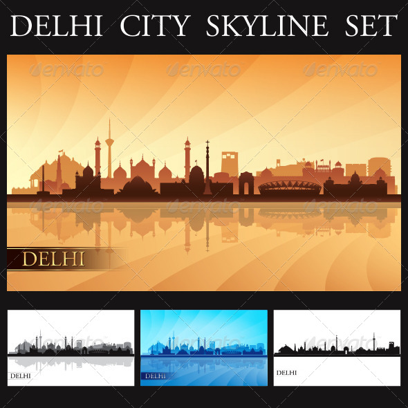 Delhi City Skyline Silhouettes Set
