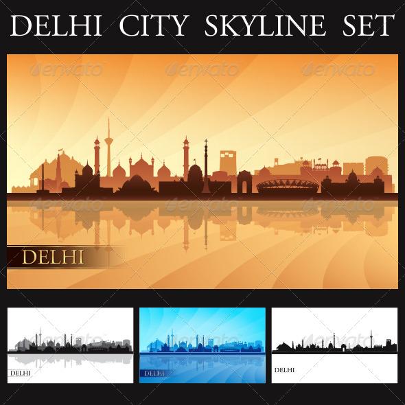 GraphicRiver Delhi City Skyline Silhouettes Set 7849178