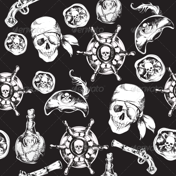 GraphicRiver Pirates Black and White Seamless Pattern 7849328