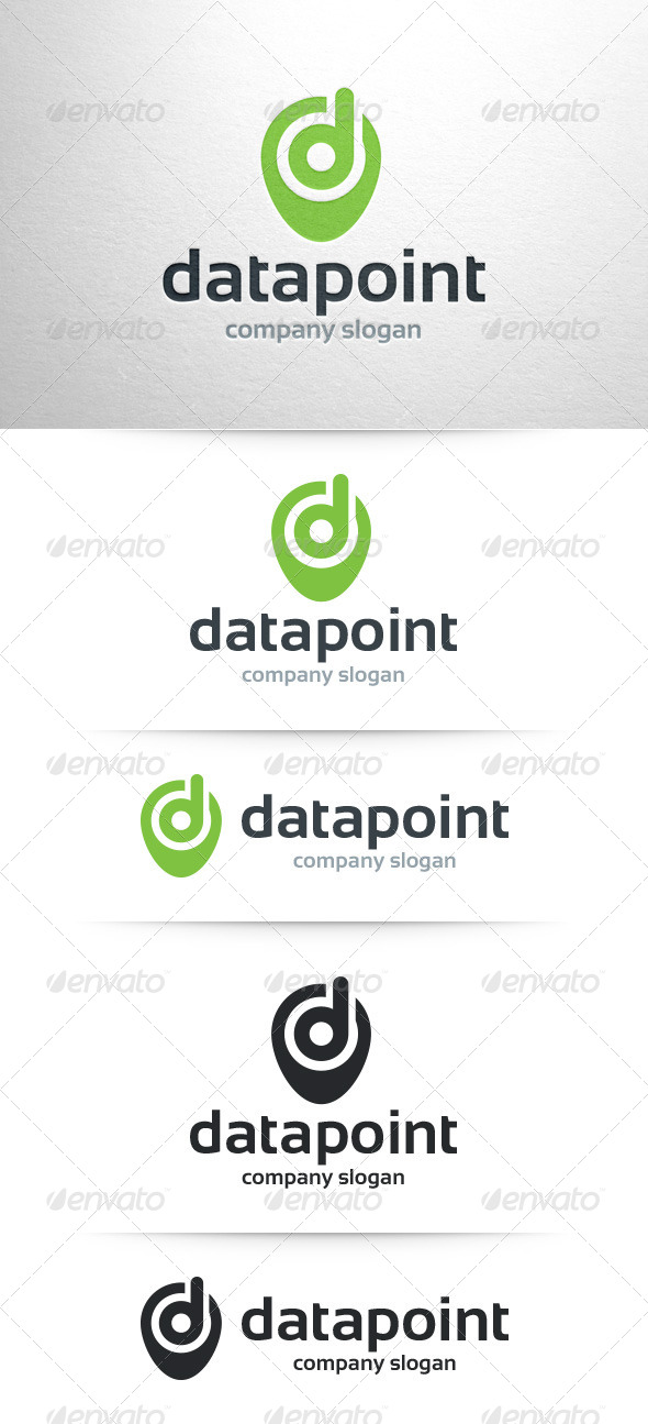 GraphicRiver Data Point Letter D Logo 7849336