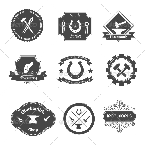 GraphicRiver Blacksmith Labels Icons Set 7849341