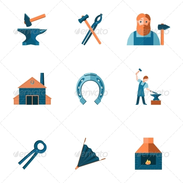 GraphicRiver Blacksmith Icon Set 7849344
