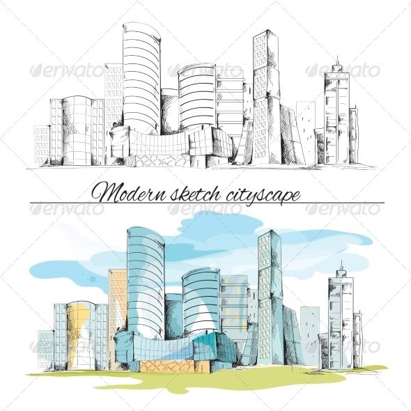 GraphicRiver Modern Sketch Cityscape 7849402