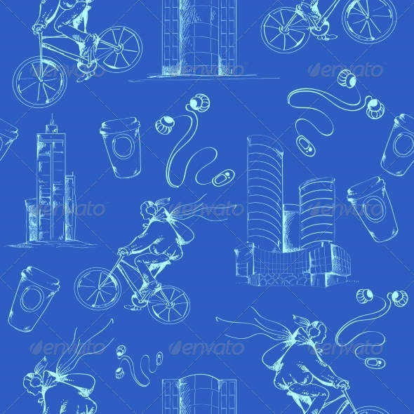 GraphicRiver Blueprint City Seamless Pattern 7849405