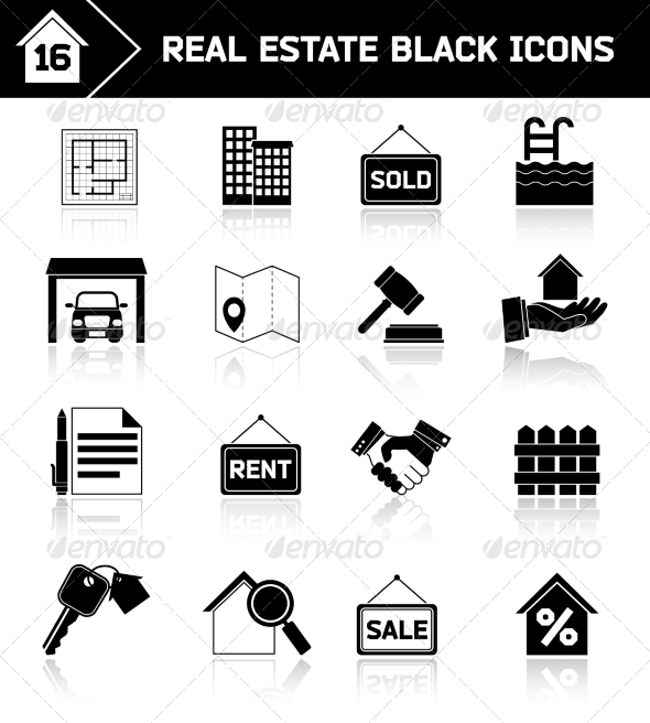 GraphicRiver Real Estate Icons Black 7849407