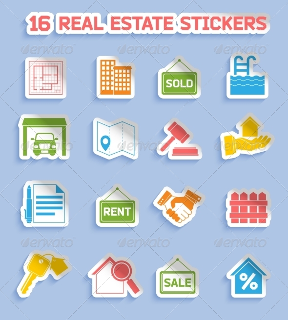GraphicRiver Real Estate Stickers 7849408