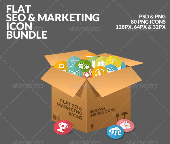 GraphicRiver Flat SEO & Marketing Icons Bundle Pack 7849488