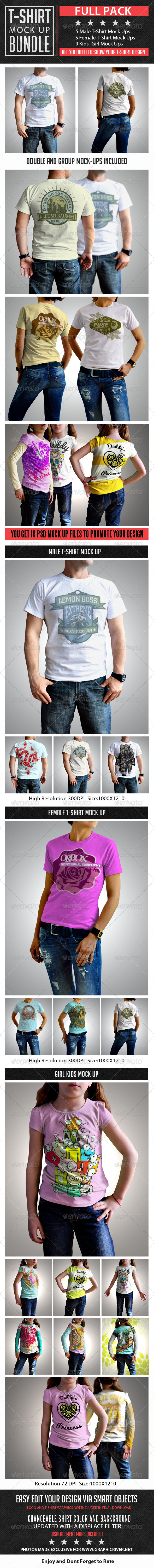 GraphicRiver T-Shirt Mock Up Bundle 7827859
