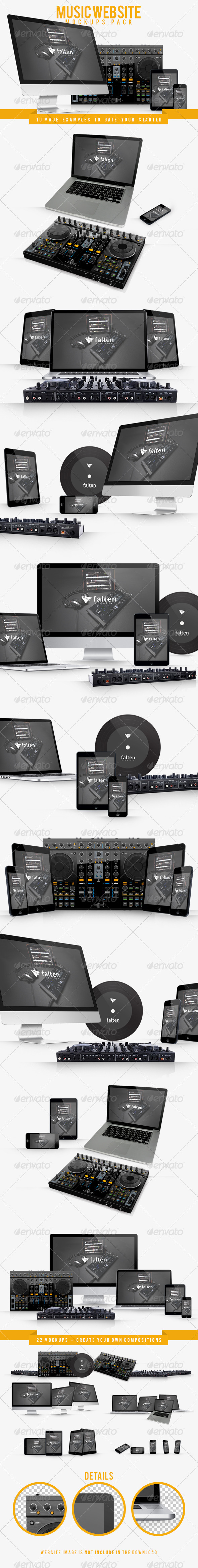 Music Website Mockups Pack - Monitors Displays