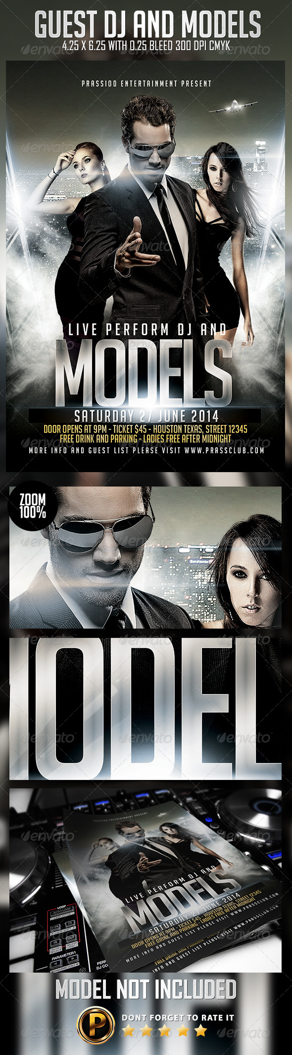 Guest DJ And Models Flyer Template - Clubs & Parties Events