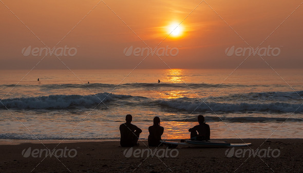 Surfers at the Sunset  - Stock Photo - Images