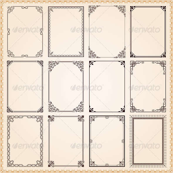 GraphicRiver Decorative Frames And Borders Vector Set 7849949