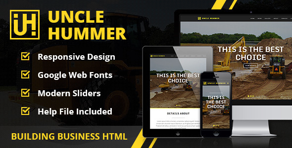 ThemeForest Uncle Hummer Responsive HTML Building Template 7822287