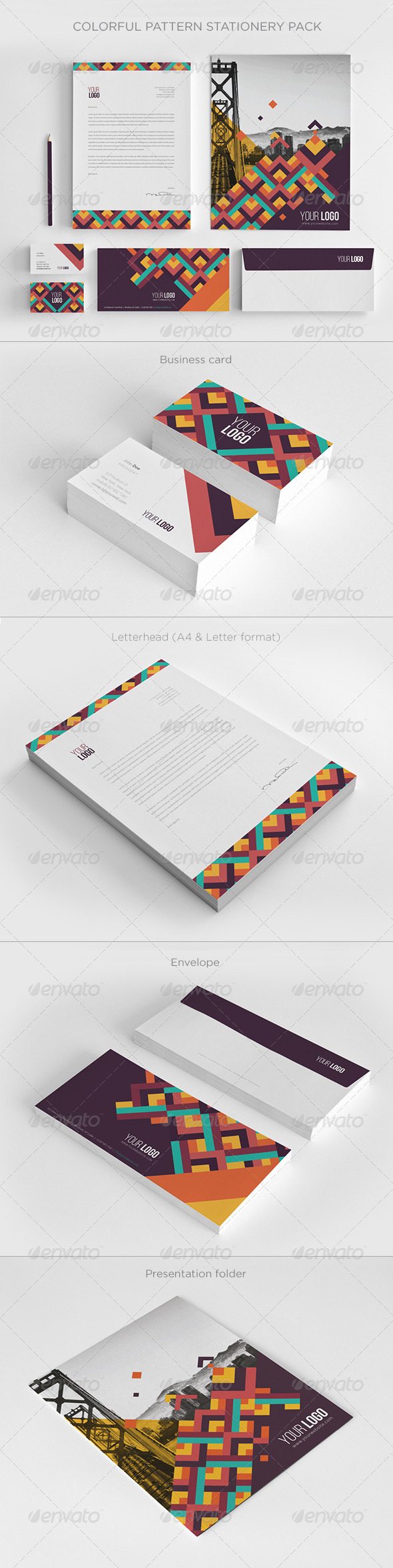 GraphicRiver Colorful Pattern Stationery 7850788