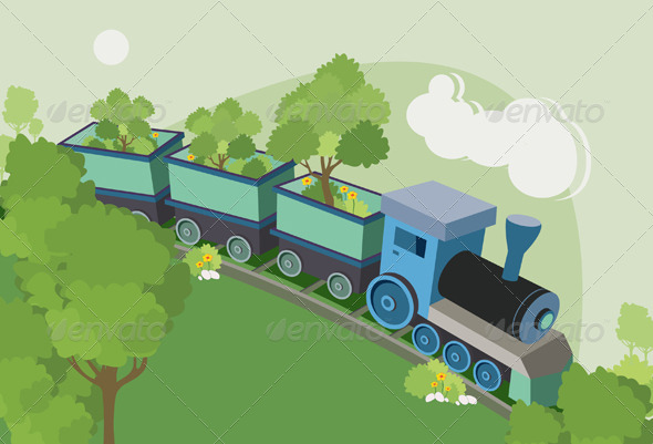GraphicRiver Trains Trees 7850883