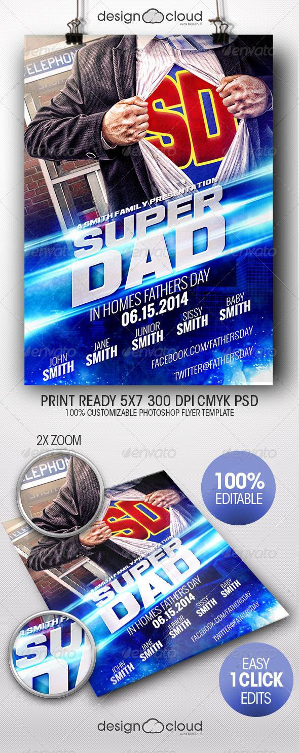 GraphicRiver Super Dad Father s Day Flyer Template 7850954