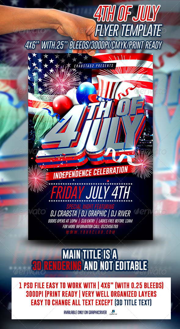 GraphicRiver 4th of July Flyer Template 7850990